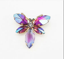 ANTIQUE 2.5in RED BLUE MULTI A/B CRYSTAL RHINESTONE BUTTERFLY GOLD BROOCH PIN