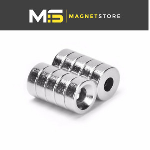 Neodymium Countersunk Ring Magnets 10 mm x 2 mm x 3 mm N42 Strong Disc Earth
