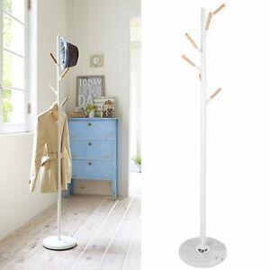 White Coat Stand Hat/Jacket/Umbrella Floor Standing Rack Clothes Hanger 6 Hook