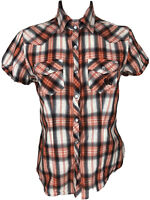 Harley Davidson Medium Plaid Womens Pearl Snap Button Embroidered Shirt E206