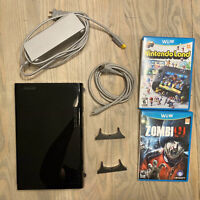 Nintendo Wii U Black 32GB Replacement Console w/ Power & 2 Games - TESTED WORKS!