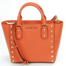 Michael Kors Sandrine Tangerine Orange Small Leather Satchel Shoulder Tote Bag