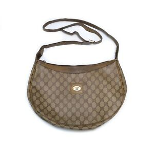 Vintage 80' Gucci GG Monogram Leather PVC Shoulder Purse Bag Made in Italy