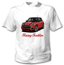Mini Cooper Rojo inspirado tradición de Carreras-Blanco Camiseta Algodón