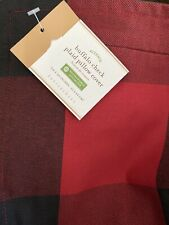 "Pottery Barn Holiday Red Black Buffalo Check Plaid 24"" Zipper Pillow Cover NWT"