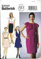 BUTTERICK SEWING PATTERN 5949 MISSES 6-14 FLARED/STRAIGHT DRESS MOCK WRAP PLEATS