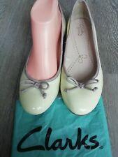 Clarks Somerset Patent Lemon Yellow Ballet Ballerina Flat Pumps Shoes Size 5