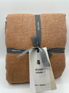 New West Elm European Belgian Flax Linen Full/Queen Duvet Cover ~Terracotta~
