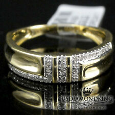 10k 100% Real Yellow Gold Genuine .07ct Diamond Men's New 5mm Wedding Ring Band