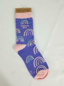 NWT Womens Karma Crew Socks Purple Pink Rainbow Dream Big One Size Fits Most