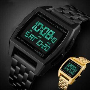 SKMEI Mens LED Digital Quartz Watch Sport Military Waterproof Stainless Steel