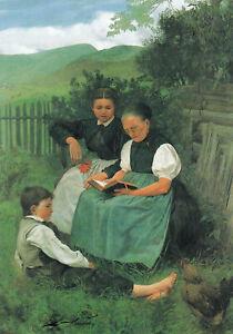 Postkarte: Hans Thoma - Feierabend, Mutter und Schwester mit Buch im Garten