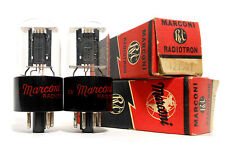 """Match Codes PAIR Marconi 12J5GT NOS Tube Black Plate """"D"""" Getter Triode (12V 6J5)"""