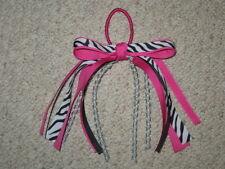 "NEW ""PINK ZEBRA"" Pony Tail Bows Girls Ribbon Hair Bows Cheer Streamers"