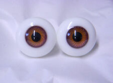 Seeley Designer Line GLASS PAPERWEIGHT EYES Bulbous DOLL BRU EYES 26mm BROWN NOS