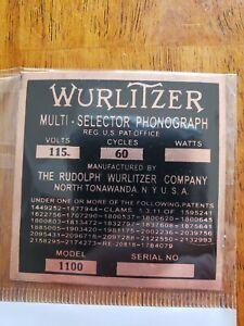COPPER Wurlitzer MODEL 1100 Jukebox I.D. Tag