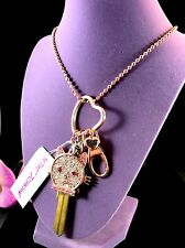 NWT BETSEY JOHNSON ROSE GOLD CHAIN NECKLACE RHINESTONE KITTY CAT KEY PENDANT