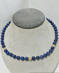 Vintage 8mm Lapis Lazuli 14K Yellow Gold 32in Opera Length Ladies Necklace 72.6g