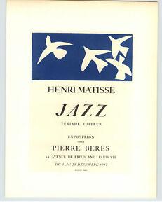 1959 Mini Poster Henri Matisse Lithograph ORIGINAL Print Jazz Pierre Beres Shop