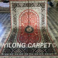 Yilong 5'x8 Red Handmade Persian Silk Area Rug Antique Hand Knotted Carpet W190C