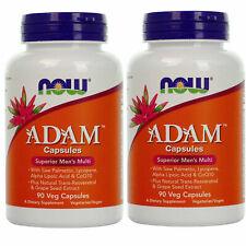 2 x NOW ADAM Superior Men's Multi Vitamin/Mineral 90 VCaps CoQ10/ZMA/Lycopene