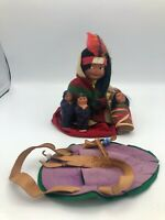 1940's Indian Skookum Bully Good Doll w/ Papoose Twin Yellowstone Souvenir