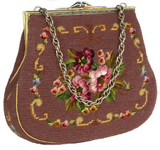 Vintage Mauve Needlepoint Floral Tapestry Handbag with Chain Handle