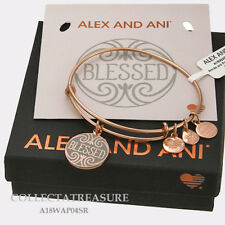 Authentic Alex and Ani Blessed Shiny Rose Expandable Charm Bangle