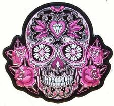 JUMBO EMBROIDERED PINK SUGAR SKULL WITH JEWELS JBP068 8 INCHES iron back beads