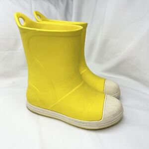 Kids Yellow Crocs Gumboots Size C 12 Rubber Comfort Flats Pull On