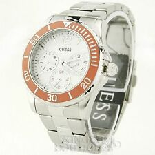 New Stylish 100% Watch GUESS Orange Silver Stainless Steel Ladies New U10598L3