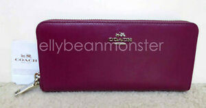 COACH 53707 Slim Accordion Zip Leather Wallet Purse CYCLAMEN RED PURPLE NEW TAG