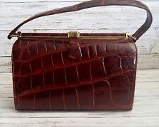 Vintage 1950's Glossy Brown Crocodile Handbag by WIDEGATE of London for HARRODS.