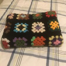 Granny Square Afghan/Throw As Is Needs Repairs 32� X 60� Handmade Crocheted
