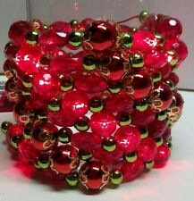 Red Pre-Lite LED Lighted Bead String Garland 8 feet long Party Wedding Christmas