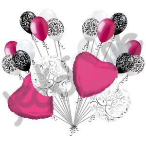 20 pc Hot Pink Heart & Swirl Balloon Bouquet Wedding Bridal Shower Anniversary