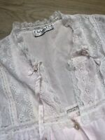 Vintage CHRISTIAN DIOR Lingerie Long Light Pink Nightgown Size Small Lace Bib