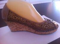 Ladies Brown Lace NEVADA Wedges AUS Size 7 EU 38 Cork Peeptoes Heels