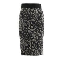 DOLCE AND GABBANA LACE PRINT SILK SKIRT