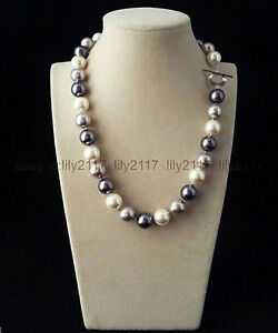 22 Inch Rare Huge 12mm Real Black White Gray Mix South Sea Shell Pearl Necklaces