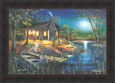 AFTER DARK by Jim Hansel Log Cabin Lake Campfire Moon 24x33 FRAMED PRINT HCD