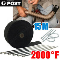 WRAP 50MM X 15M + 10 STAINLESS STEEL TIES 2000F BLACK EXHAUST HEAT FIBERGLASS