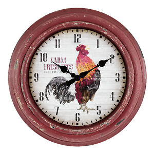 """404-3630 La Crosse Clock Co. 12"""" Distressed Red Rooster Analog Wall Clock"""