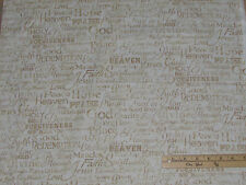 Faith Religious Peace Jesus Blessed Holy Bible Fabric by the 1/2 Yard  C4720