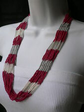 New Women Pink Red Silver Necklace Beads Multi Chains Fashion Safari Accessory