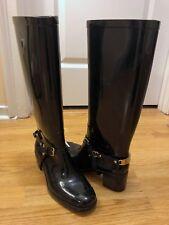 Jimmy Choo Black Rubber Shiny Riding Rain Boots with Logo Stirrups - Size 6