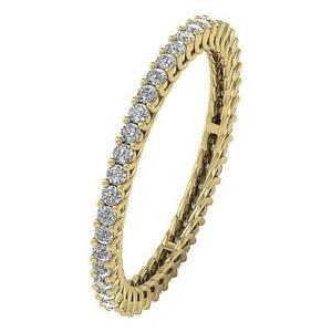 Eternity Engagement Ring SI1 G Natural Diamond 0.75 Ct 14K Yellow Gold Prong Set