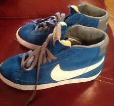 Junior Nike Blazers Hi-tops Blue Suede Size 3 Uk / Eur 35 Trainers Hitops