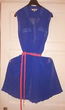 Peacocks Summer Beach Holiday Royal Blue Pleated Party Red/ Orange Belt Dress 10