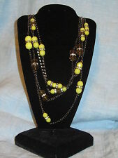 SIMPLY VERA WANG NWT $44 women's necklace long chartreuse green& clear  stones